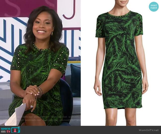 Studded Palm-Print Sheath Dress by MICHAEL Michael Kors worn by Sheinelle Jones  on Today