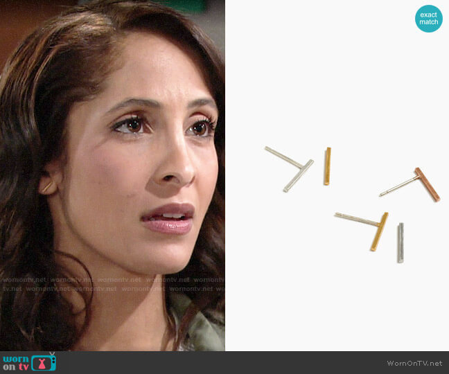 Madewell Mix and Match Bar Studs worn by Lily Winters (Christel Khalil) on The Young & the Restless