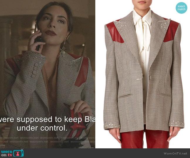 Arkansas Blazer by Magda Butrym worn by Cristal Jennings (Daniella Alonso) on Dynasty