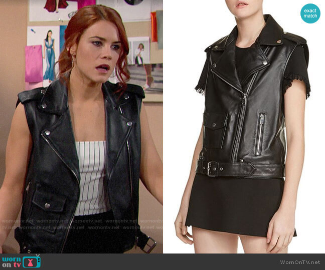Maje Baldwin Leather Moto Vest  worn by Sally Spectra (Courtney Hope) on The Bold & the Beautiful