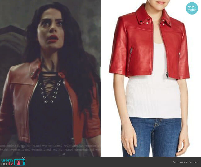 Brittany Cropped Leather Jacket by Maje  worn by Isabelle Lightwood (Emeraude Toubia ) on Shadowhunters