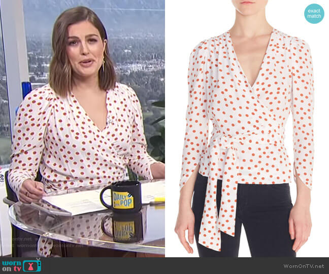 Polka Dot Wrap Blouse by Maje worn by Carissa Loethen Culiner  on E! News