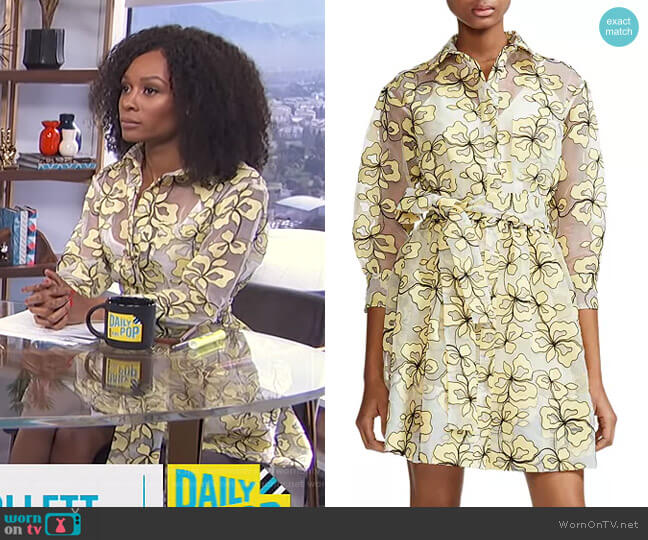 Reality Floral-Embroidered Organza Shirt Dress by Maje worn by Zuri Hall (Zuri Hall) on E! News