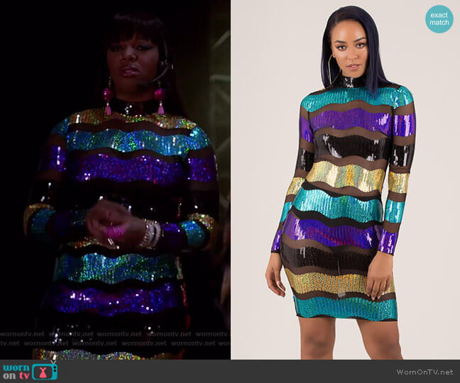 Making Waves Sequined Striped Mesh Dress by GoJane worn by Porsha Taylor (Ta'Rhonda Jones) on Empire
