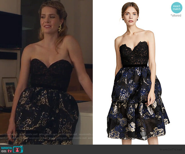Two Tiered Cocktail Dress by Marchesa Notte worn by Sutton (Meghann Fahy) on The Bold Type