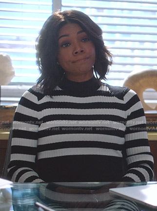 Mary Jane's black and white striped dress on Being Mary Jane