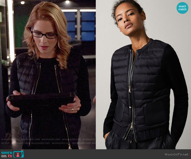 Massimo Dutti Bomber Down Jacket with Leather Detail worn by Felicity Smoak (Emily Bett Rickards) on Arrow