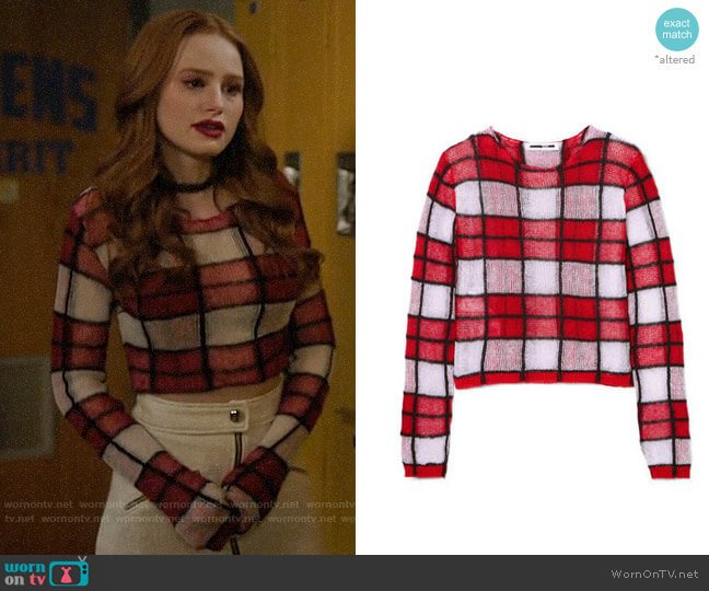 McQ Alexander McQueen Checked Linen Blend Sweater worn by Cheryl Blossom (Madelaine Petsch) on Riverdale