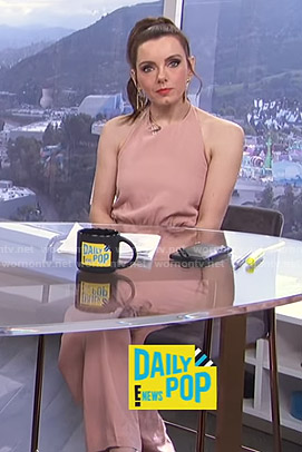 Melanie's pink halter jumpsuit on E! News Daily Pop