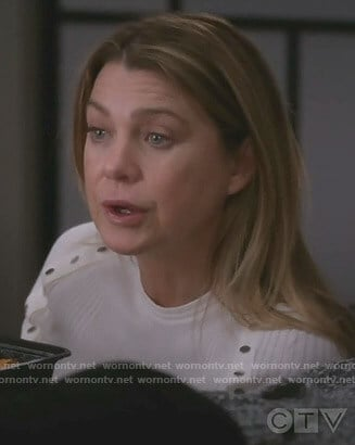 Meredith's white ribbed button detail top on Grey's Anatomy