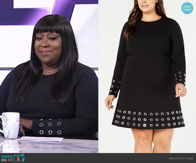 Plus Size Ponté-Knit Embellished Fit & Flare Dress by MICHAEL Michael Kors worn by Loni Love (Loni Love) on The Real