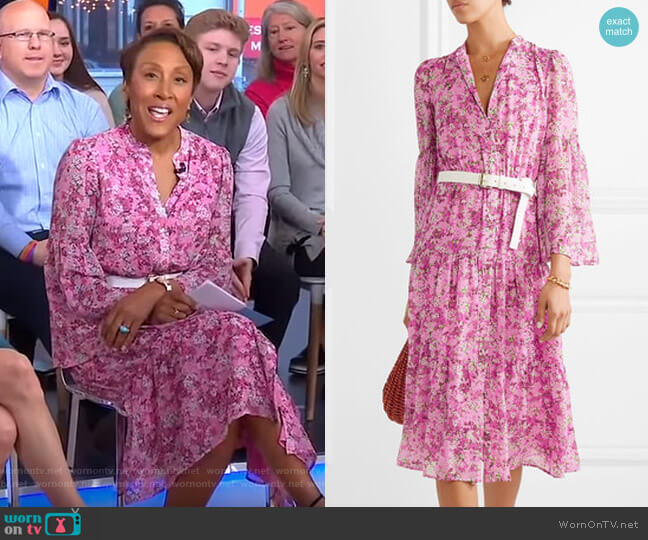 Belted Tiered Floral-Print Midi Dress by Michael Kors worn by Robin Roberts (Robin Roberts) on Good Morning America