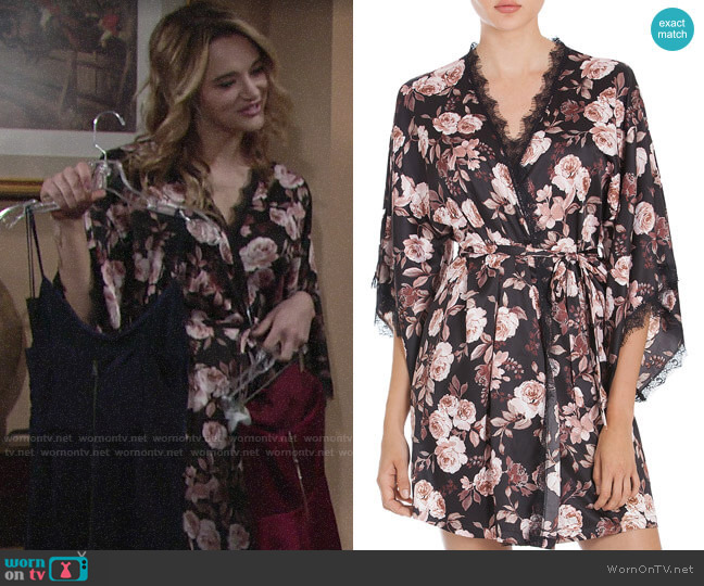Midnight Bakery Lace-Trimmed Floral Kimono worn by Summer Newman (Hunter King) on The Young & the Restless