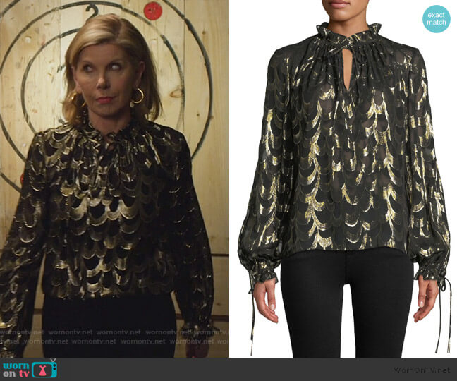 Jenny Long-Sleeve Metallic Silk Chiffon Top by Milly worn by Diane Lockhart (Christine Baranski) on The Good Fight