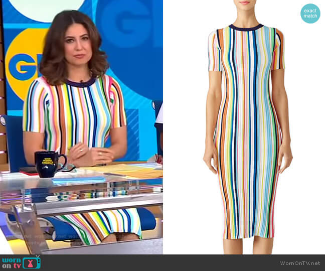 Rainbow Stripe Knit Dress by Milly worn by Cecilia Vega  on Good Morning America