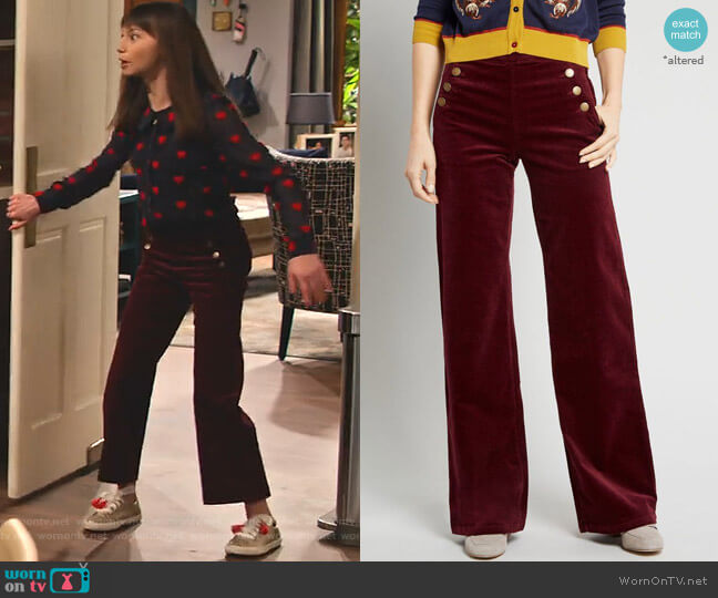The Madison Corduroy Wide Leg Pants by Modcloth worn by Molly (Lauren Lindsey Donzis) on No Good Nick