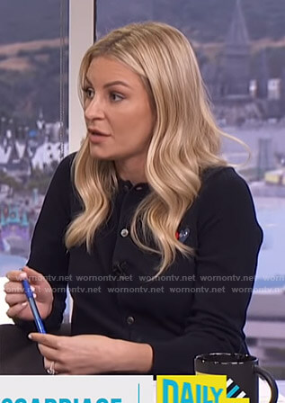 Moran's black cardigan with heart applique on E! News Daily Pop