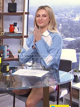 Morgan's blue colorblock shirt and buttoned shorts on E! News Daily Pop