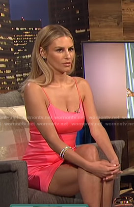 Morgan's neon pink mini dress on E! News Nightly Pop
