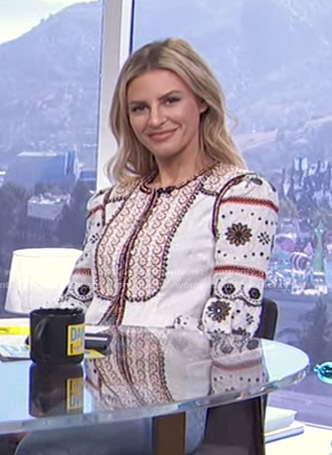 Morgan's white floral embroidered jacket on E! News Daily Pop
