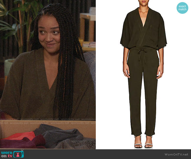 NSF Felina Kimono-Sleeve Wrap Jumpsuit worn by Kat Edison (Aisha Dee) on The Bold Type