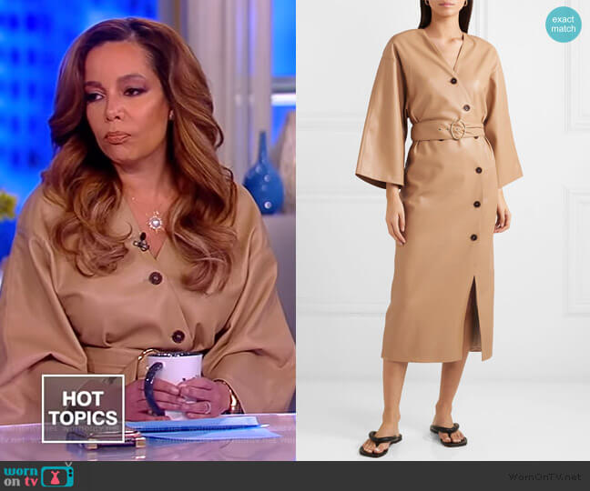 Iben belted vegan leather dress by Nanushka worn by Sunny Hostin (Sunny Hostin) on The View