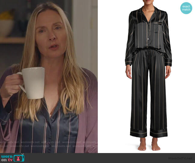 Pinstripe Two-Piece Pinstripe Silk Pajama Set by Neiman Marcus worn by Jill Carlan (Hope Davis) on For the People