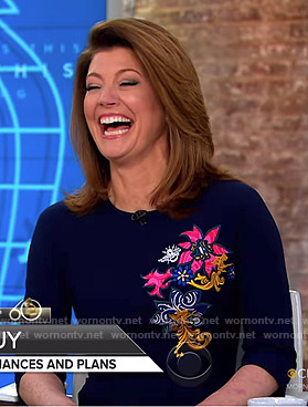 Norah's blue floral embroidered dress on CBS This Morning