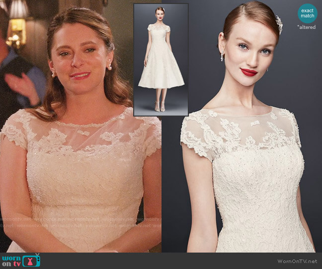 Oleg Cassini Cap Sleeve Illusion Wedding Dress worn by Rebecca Bunch (Rachel Bloom) on Crazy Ex-Girlfriend