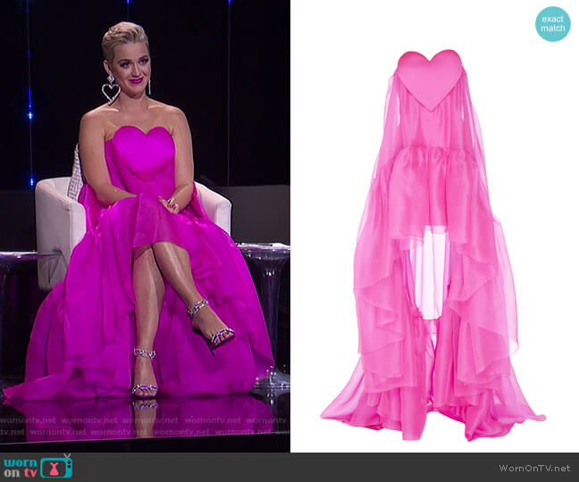 Heart-Detail Silk Organza Gown by Paule Ka worn by Katy Perry  on American Idol