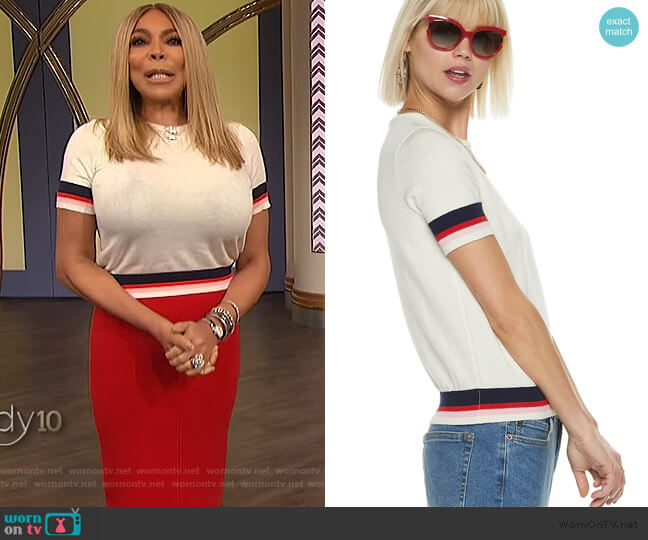 Striped Short Sleeve Sweater by PopSugar worn by Wendy Williams  on The Wendy Williams Show