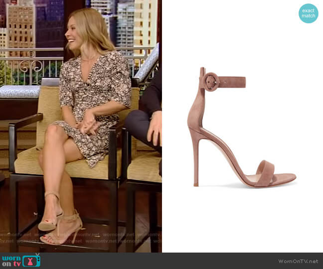 Portofino Suede Sandals by Gianvito Rossi worn by Kelly Ripa (Kelly Ripa) on Live with Kelly & Ryan