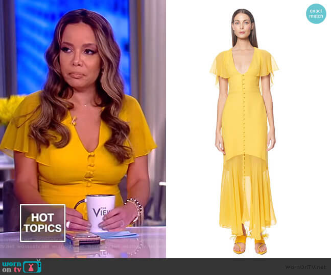 Victoria Flutter Sleeve V-neck Dress by Prabal Gurung worn by Sunny Hostin  on The View