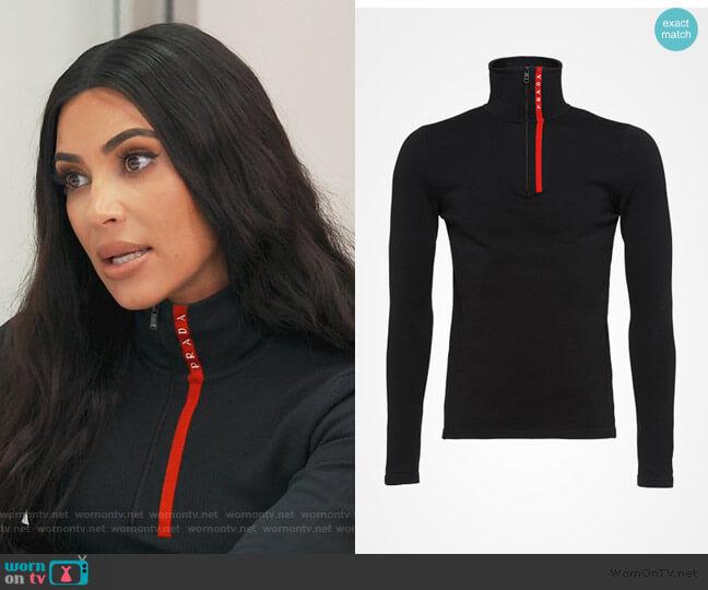 Half Zip Prada Rossa Logo Jacket by Prada worn by Kim Kardashian  on Keeping Up with the Kardashians