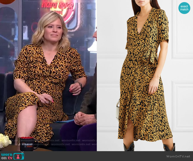 Printed Crepe Dress by Ganni worn by Sara Haines (Sara Haines) on Good Morning America