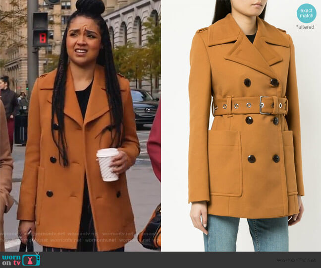 Double Breasted Belted Coat by Proenza Schouler worn by Kat Edison (Aisha Dee) on The Bold Type