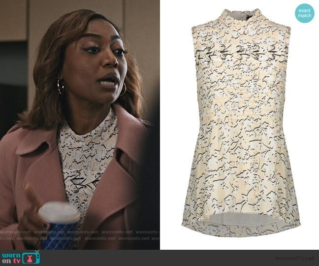 Smocked floral-print silk-georgette top by Proenza Schouler worn by Daisy Grant (Patina Miller) on Madam Secretary