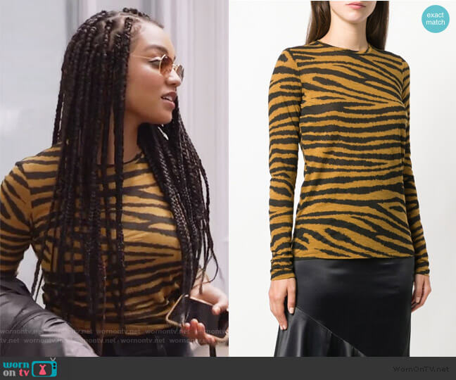 Tiger Print Long Sleeve T-Shirt by Proenza Schouler worn by Kat Edison (Aisha Dee) on The Bold Type