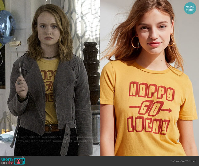 Project Social T Happy Tee worn by Abby Hammond (Liv Hewson) on Santa Clarita Diet