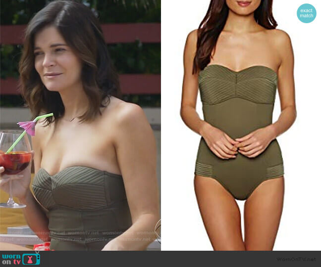 Quilted Bandeau One Piece by Seafolly worn by Heather Hughes (Betsy Brandt) on Life in Pieces