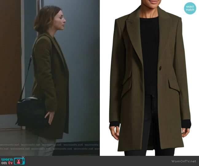 Duchess Tailored-Fit Coat by Rag and Bone worn by Amelia Shepherd (Caterina Scorsone) on Greys Anatomy
