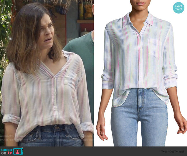 Charli Candy-Striped Long-Sleeve Shirt by Rails worn by Heather Hughes (Betsy Brandt) on Life in Pieces