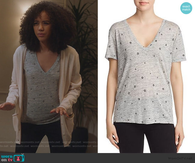 Cara Star Print Tee by Rails worn by Allison Adams (Jasmin Savoy Brown) on For the People