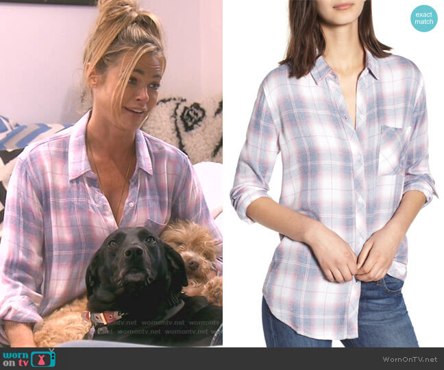Hunter Plaid Shirt In Rouge Azure White by Rails worn by Denise Richards  on The Real Housewives of Beverly Hills