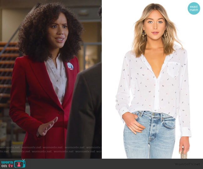 Taylor Button-Down Shirt by Rails worn by Allison Adams (Jasmin Savoy Brown) on For the People
