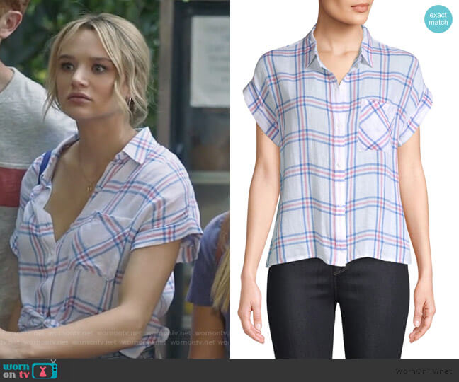 Whitney Stripe Short-Sleeve Top by Rails worn by Clementine Hughes (Hunter King) on Life in Pieces