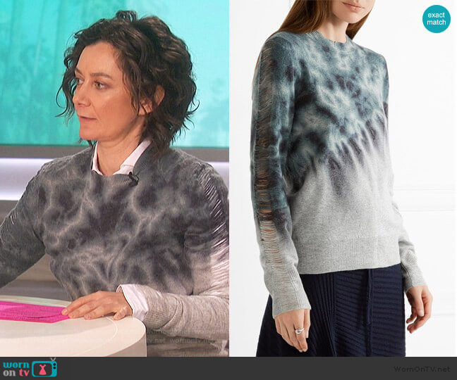 Distressed tie-dyed merino wool and cashmere-blend sweater by Raquel Allegra worn by Sara Gilbert  on The Talk