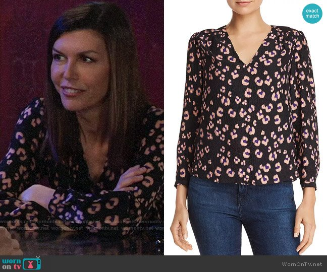 Rebecca Taylor Leopard-Printed Silk Top worn by Anna Devane (Finola Hughes) on General Hospital