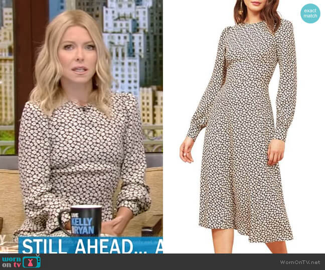 Josephine Midi Dress by Reformation worn by Kelly Ripa (Kelly Ripa) on Live with Kelly & Ryan