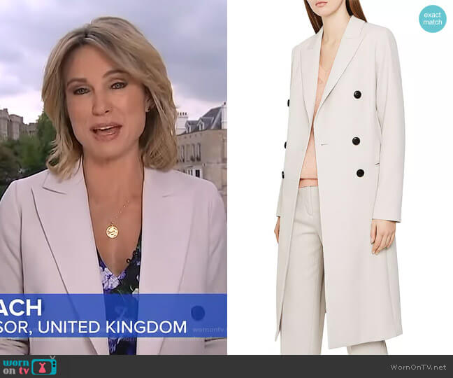 Honour Heavy Twill Coat by Reiss worn by Amy Robach  on Good Morning America